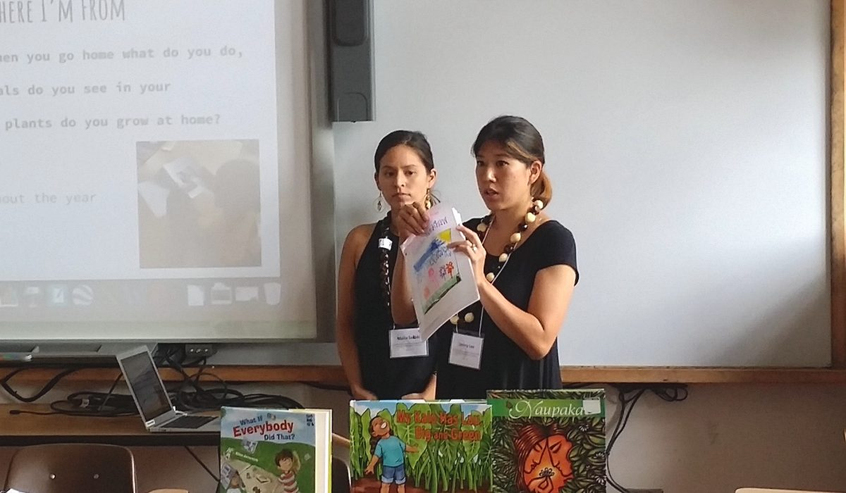 students displaying books