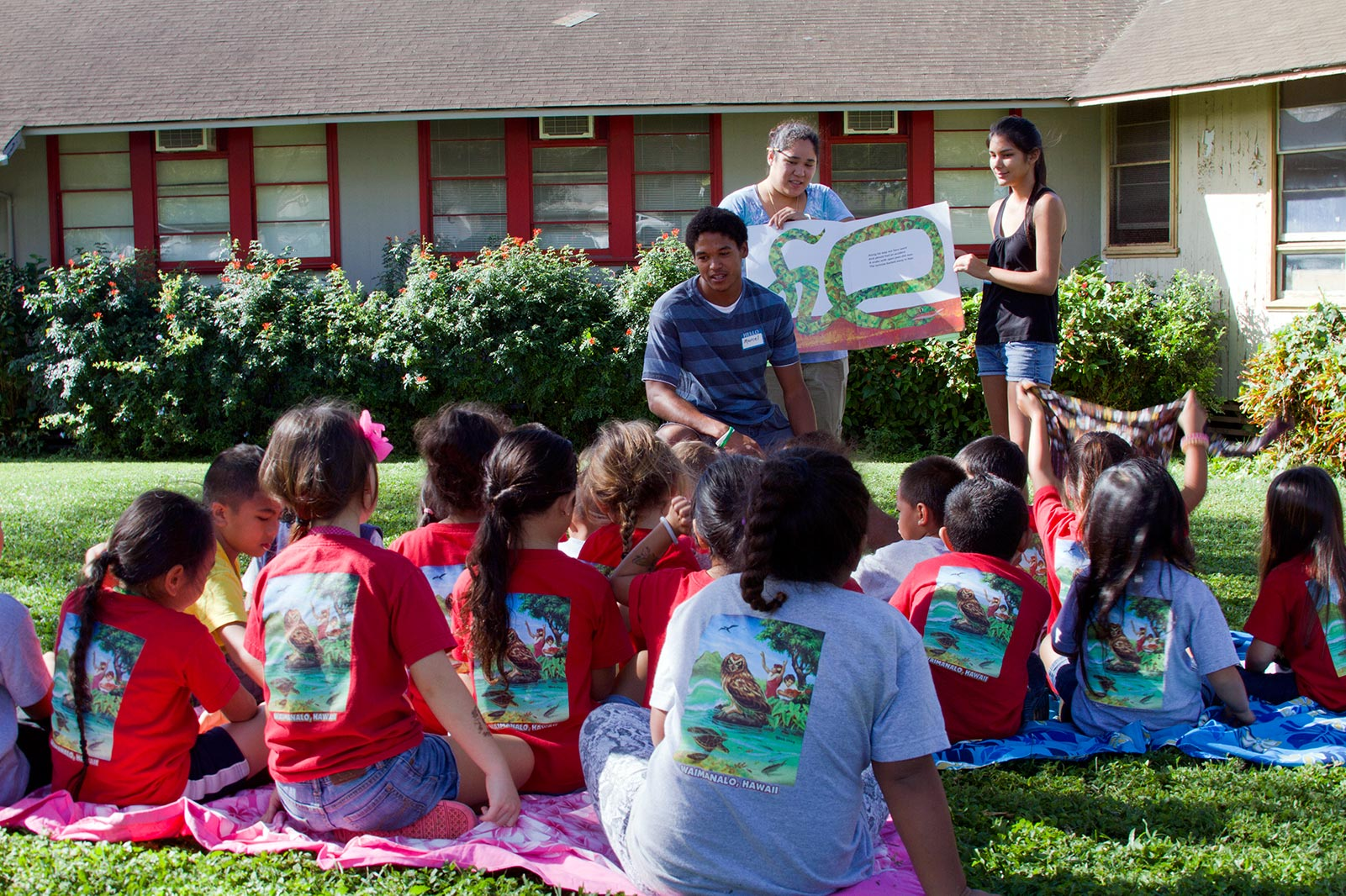 Elementary education students teaching children