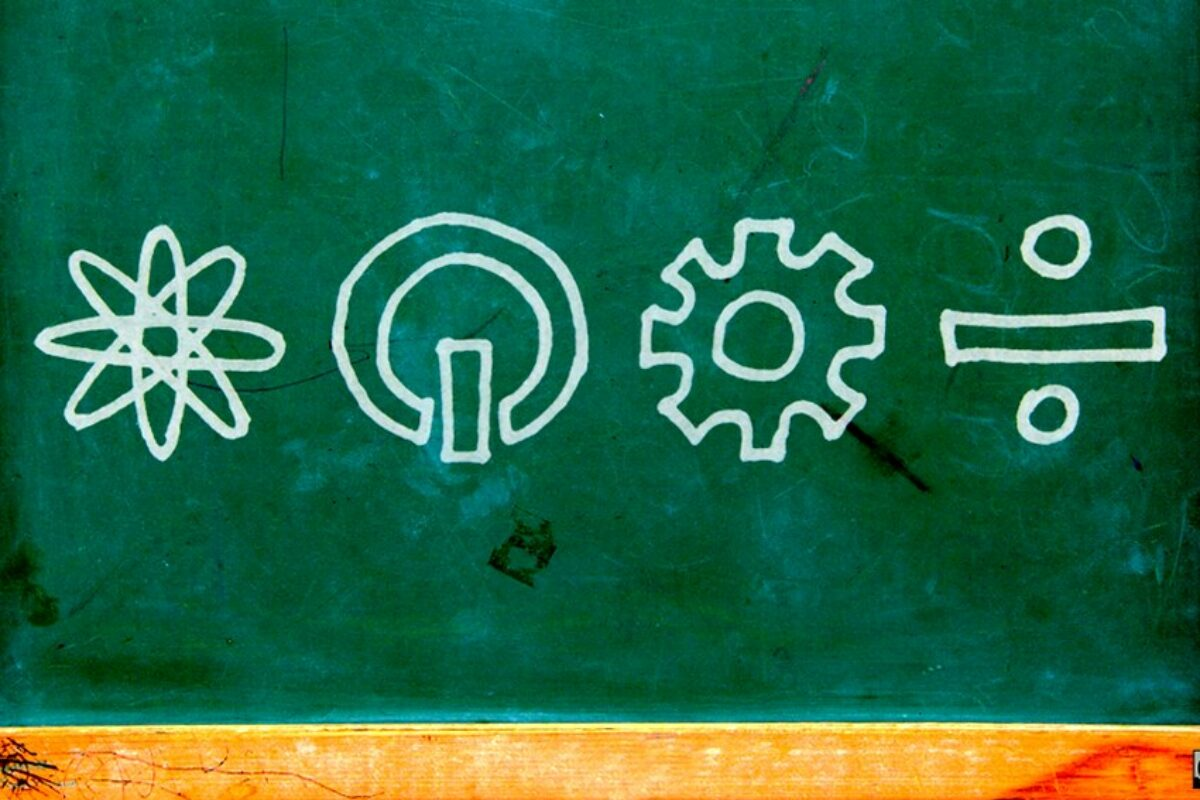 STEM images on chalkboard