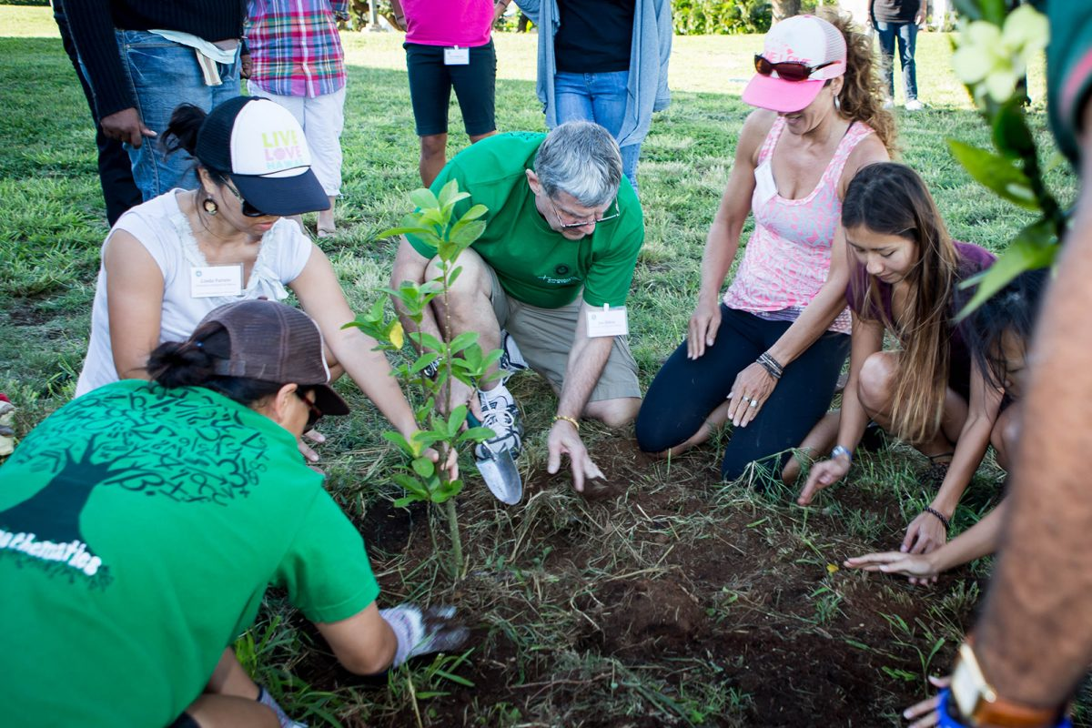 student planting