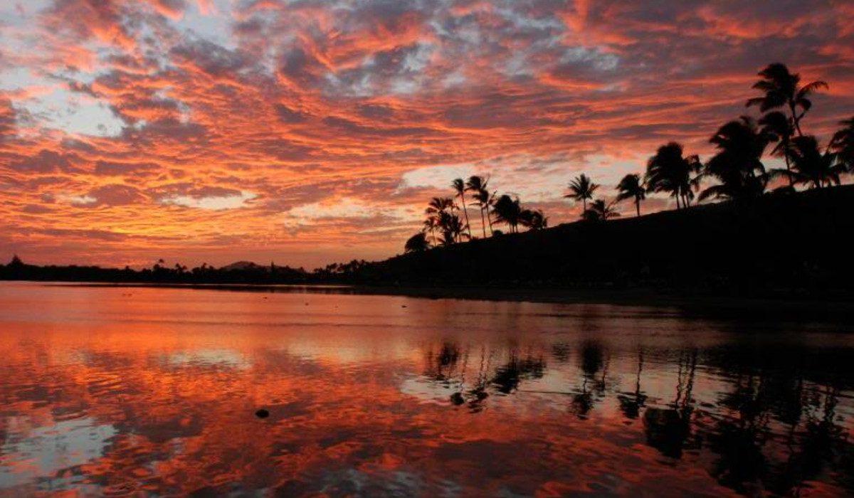 A sunset beach
