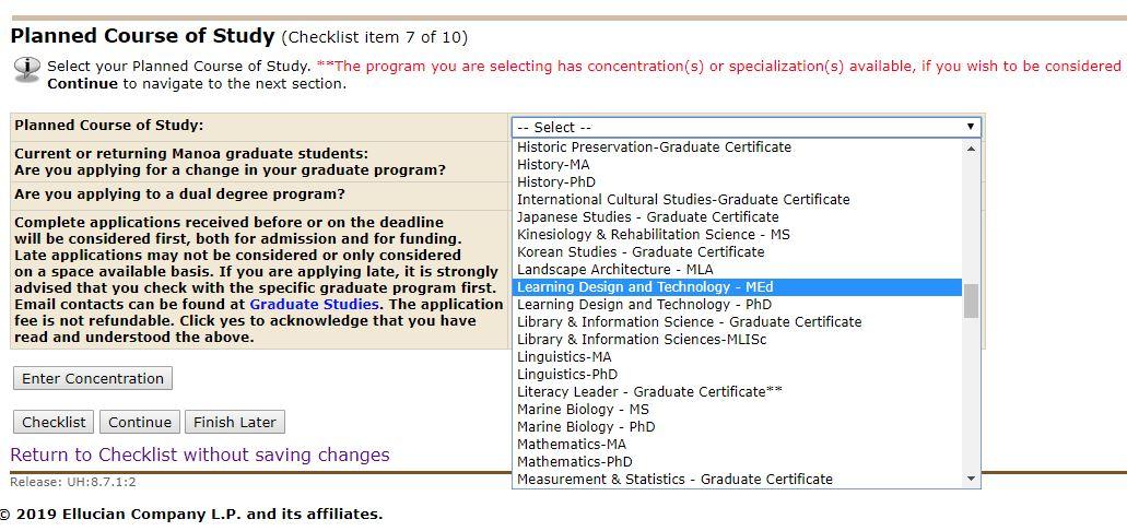 LTEC options on Grad App
