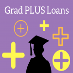 Graduate surrounded by plus signs under Grad PLUS Loans Text