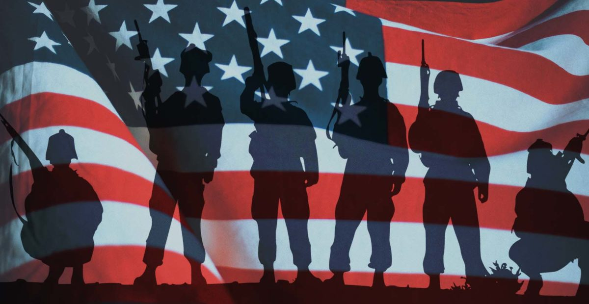 US Flag background with military personnel silhouettes