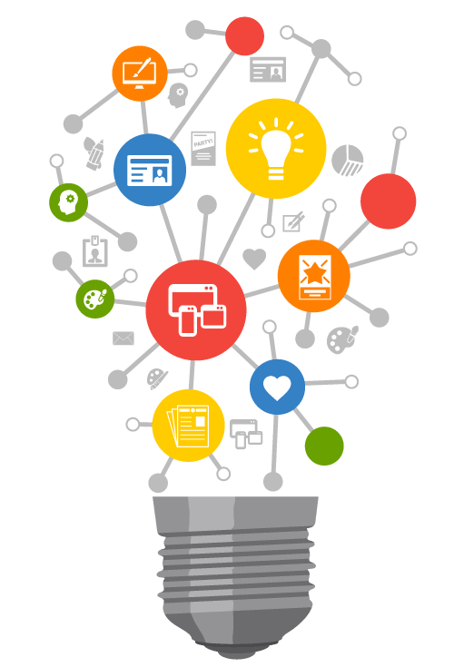 Light bulb containing icons