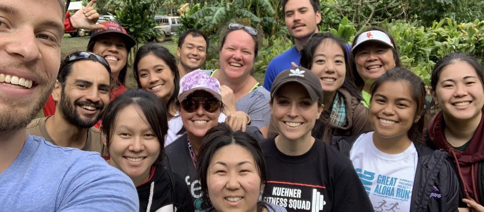 PBCTE Cohort 1 and alumni posing together during Hoʻoulu ʻĀina Community Workday