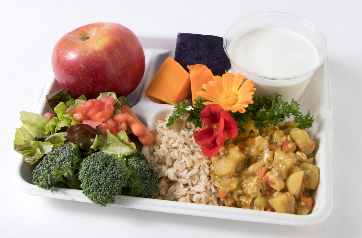 tray with ulu, sweet potato, haupia, broccoli, apple