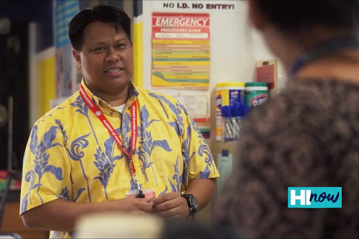 teacher in aloha shirt