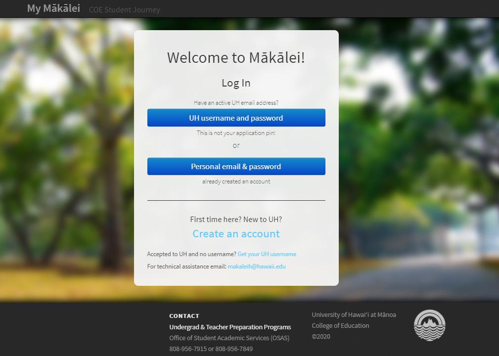 Mākālei home screen