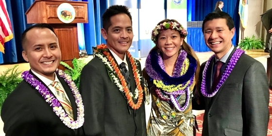 COE Alumni Nel Venzon (far left) and Daniel Taira (far right) with fellow Hawai'i winners, Brian Ogawa and Daphne Okunaga