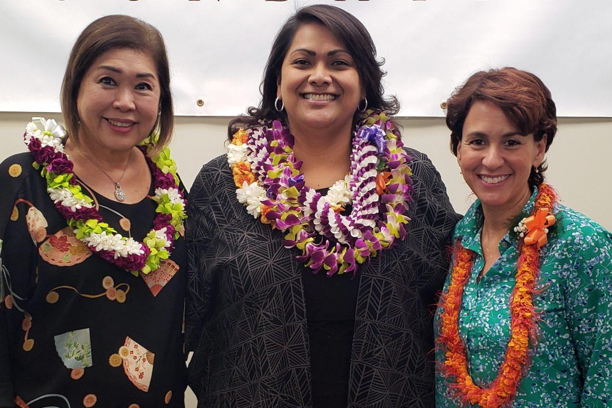 Complex Area Superintendent Ann Mahi, Principal Ray Pikelny, and Superintendent Christina Kishimoto